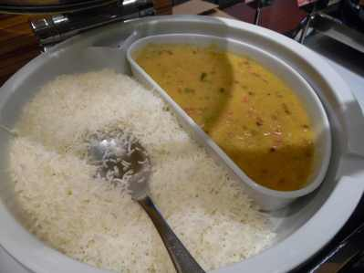 Yellow lentil and white rice