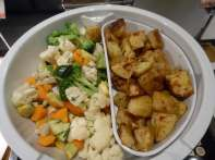 Steamed veggies, roasted potatoes