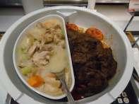 Chicken fricassee, kalbi beef