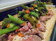 Roast beef with asparagus
