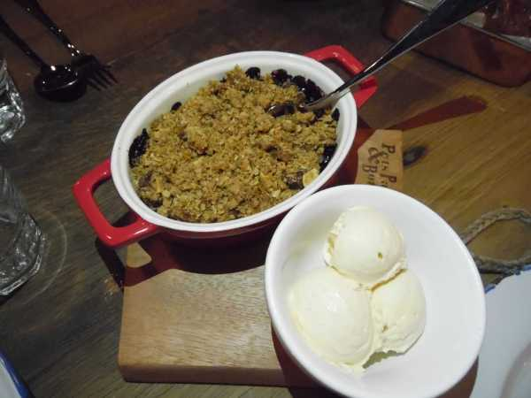 Red fruit and apple crumble